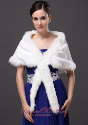 Elegant Faux Fur V-Neck White Wrap/Jacket for Winter