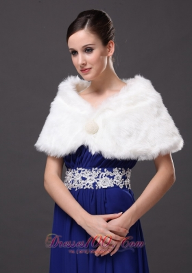 Rabbit Fur Wraps for Special Occasion in Ivory with V-neck