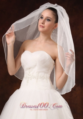 Bridal Veils with Graceful One-tier Organza and Pearl
