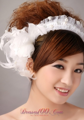 Imitation Pearls White Organza Headpieces for Weddings