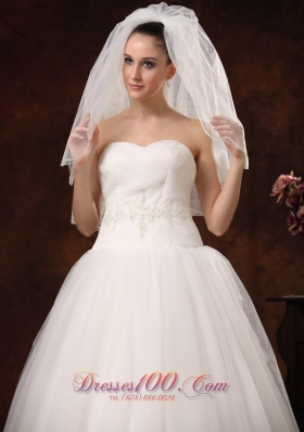 2 Layers Graceful Tulle Ribbon Edge designer wedding veils