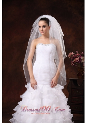 White Royal Discount Two Layers Tulle Bridal Veils