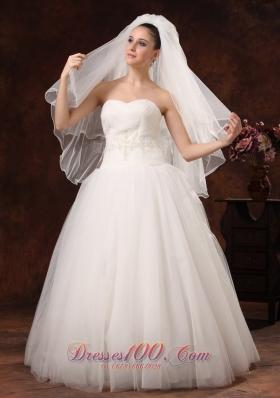 inspired Organza Bridal Veils Two Layers Ribbon Edge