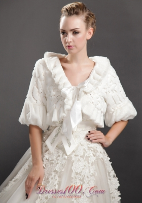 Fold-over Collar Half Sleeves Jacket for Wedding Party