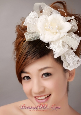Sweet White Imitation Pearls Flower Tulle Headpiece