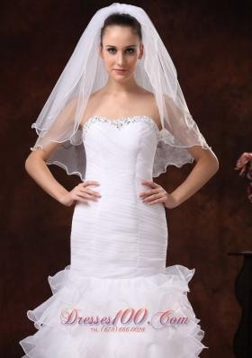 Tulle Ribbon Edge White Bridal Veil for Wedding