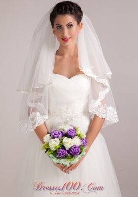 Hand-tied Wedding Bridal Bouquet in Purple and White