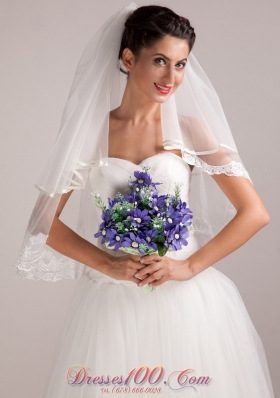 Purple White Hand-tied Wedding Bouquet for Bride