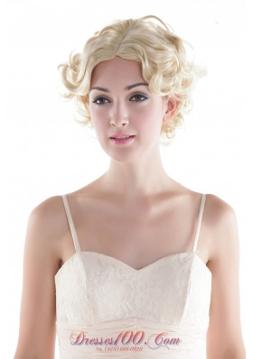 Short Natural Look Synthetic Blonde Curly Hair Wig