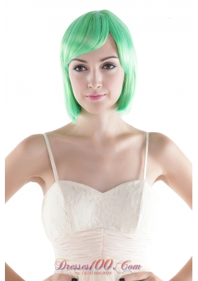 Green Short Wig High Quality Synthetic Straight Cosplay