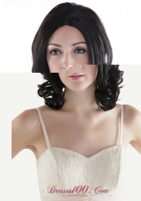Black Curly Hair Wig Short Human Hair for Prom