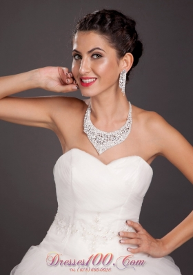 Crystal Bridal Jewelry Set Alloy Necklace with Earrings