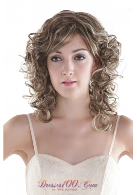Hair Wig in Sexy Mixed Color Medium Synthetic Curly