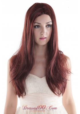 Long Silky Human Hair Wig Auburn Straight