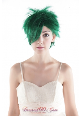 Short Straight Green Synthetic Hair Wig for Party