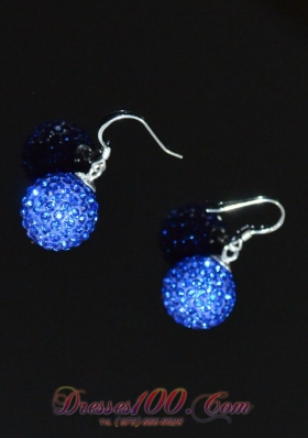 Brand New Round Ladies' Earrings Blue Rhinestone