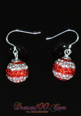 Rhinestone Round Red and White Ladies' Earrings