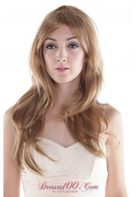 Long Wavy Brown Human Hair Wig for Daily Wear