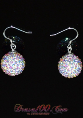 Multi-color Round Rhinestone Earrings for Girls