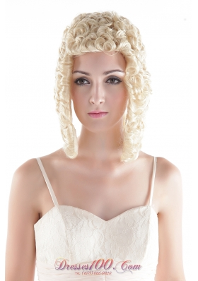 Custom Medium Curly Blonde Synthetic Hair Wig