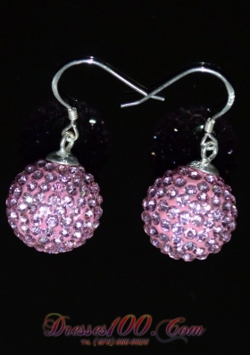 Luxurious Round Baby Pink Rhinestone Earrings