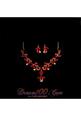 Crystals Alloy Plated Necklace And Earrings Jewelry Set