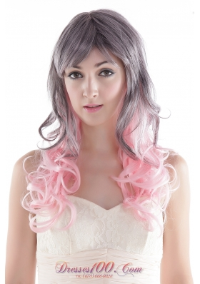Curly Gray and Pink Long Synthetic Hair Wig