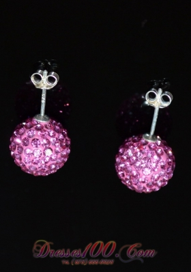 Earrings Baby Pink Round Rhinestone for Party