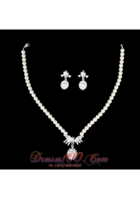 Alloy Plated Ivory Pearl Necklace Earrings Jewelry Set