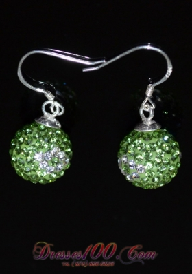 Unique Spring Green and White Earrings Round Rhinestone