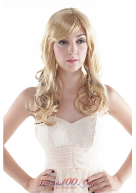 With Side Bang Blonde Long Curly Synthetic Wig