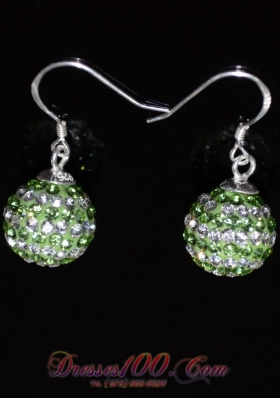 Round Rhinestone Earrings Spring Green and White
