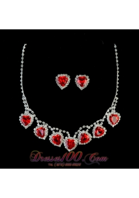 Red Sweetheart Shaped Rhinestones Necklace and Earring