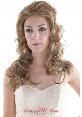Synthetic Flaxen Medium Long Wavy Hair Wig for Daily Wear