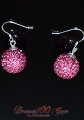 Rose Pink Rhinestone Round Earrings for Sale