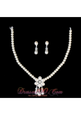 Vintage Style Pearl Alloy Plated Necklace And Earring