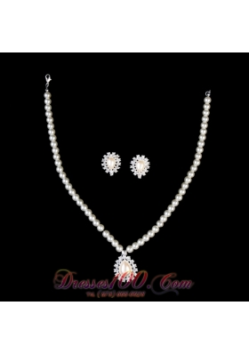 Pearl With Rhinestone Drop Necklace and Earring Set
