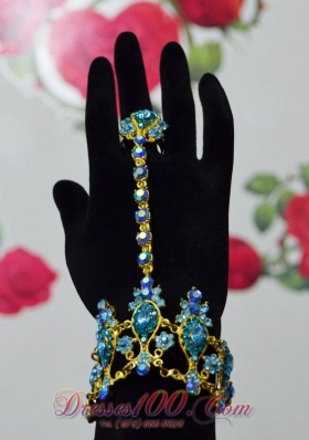 Blue and Gold Bracelet and Ring for Party