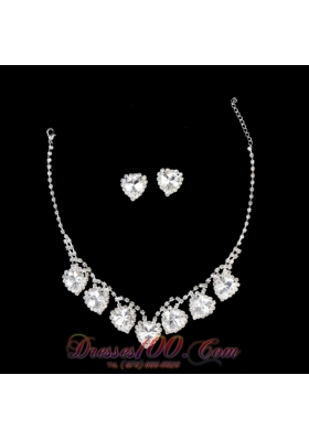 Rhinestones Sweetheart Shaped Wedding Jewelry Set