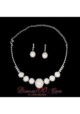 Alloy Pearl With Rhinestone Wedding Jewelry Set