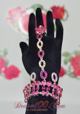 Fashion Fuchsia Rhinestone Alloy Bracelet And Ring