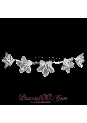 Tiara Headpieces Rhinestone With Elegant Flowers