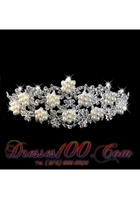 Imitation Pear With Alloy Wedding Tiara Rhinestone