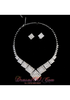 Alloy Plated Rhinestone Necklace and Earrings Jewelry