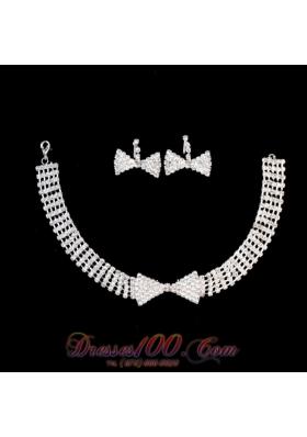 2013 Bowknot Shaped Bridal Jewelry Set Rhinestone