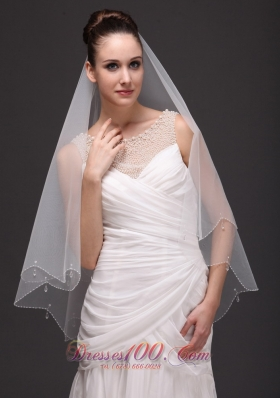 Two-tier Veil For Wedding Party Tulle Drop
