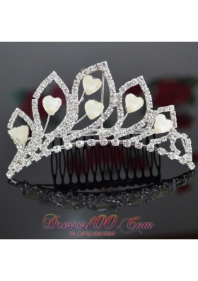 Alloy Ladies' Tiara With Rhinestone for Party