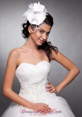 White Organza and Taffeta Wedding Headpieces Pearls