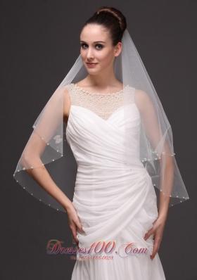 Two-tier Pearl Trim Edge Fingertip Bridal Veil