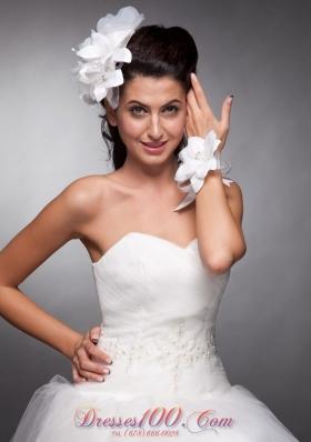 White Bridal Wrist Corsage Organza and Taffeta